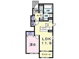 林アパートA 1階1LDKの間取り