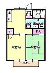 東京都八王子市久保山町2丁目の賃貸アパートの間取り