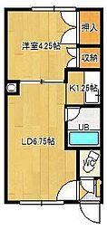 本町コーポ 1階1LDKの間取り