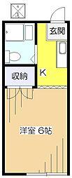 東京都東村山市富士見町1丁目の賃貸アパートの間取り