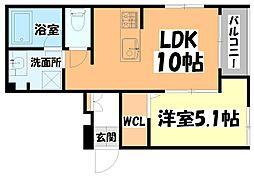 仙台市営南北線 北四番丁駅 徒歩13分の賃貸アパート 2階1LDKの間取り