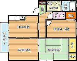 三洋タウン本城 B棟[2階]の間取り