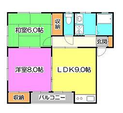 コーポ・ユートピアA[2階]の間取り