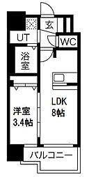 プレサンス南堀江 5階1LDKの間取り