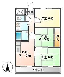 FRハイツ B棟[2階]の間取り
