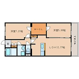 JR東海道本線 静岡駅 バス15分 敷地二丁目下車 徒歩1分の賃貸マンション 1階2LDKの間取り