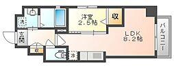 岡山電気軌道清輝橋線 東中央町駅 徒歩4分の賃貸マンション 3階1LDKの間取り