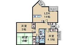アジュール上野西[1階]の間取り