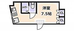 Osaka Metro御堂筋線 大国町駅 徒歩1分の賃貸マンション 5階ワンルームの間取り