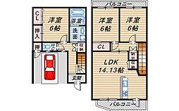 [テラスハウス] 大阪府豊中市北桜塚2丁目 の賃貸【/】の間取り