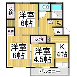 本城マンション B棟[3階]の間取り