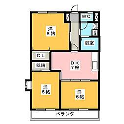 ロイヤルシティ豊田 A棟[2階]の間取り