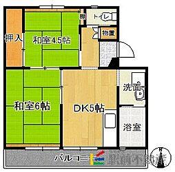ビレッジハウス甘木2号棟[1階]の間取り