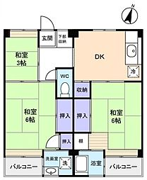 ビレッジハウス勝田1号棟[1階]の間取り