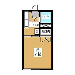グリーンコーポ浜田1号館[2階]の間取り