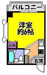 パウゼ河内長野駅前 4階ワンルームの間取り
