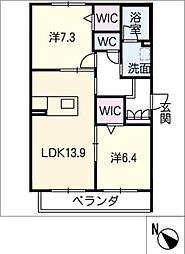 仮)JA賃貸豊田市緑ヶ丘 2階2SLDKの間取り