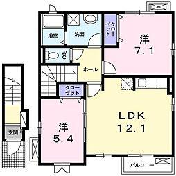 東京都立川市砂川町6丁目の賃貸アパートの間取り