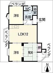 サンハイツ豊田[2階]の間取り