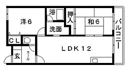 久宝寺西田マンション[402号室号室]の間取り