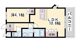 明和マンションII 2階1LDKの間取り