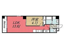 JR総武線 新検見川駅 徒歩1分の賃貸マンション 5階1LDKの間取り