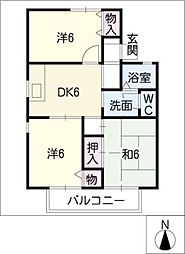 エスポワールタウンB棟[2階]の間取り