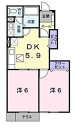 滋賀県東近江市桜川東町の賃貸アパートの間取り