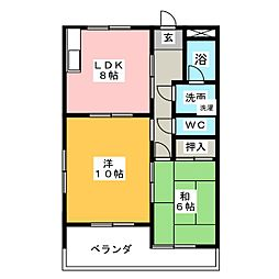 グリーンビレッジ八竜[1階]の間取り