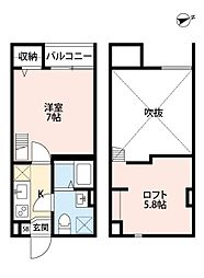 阪堺電気軌道阪堺線 我孫子道駅 徒歩2分の賃貸アパート 1階1Kの間取り