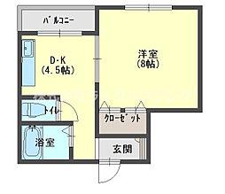 ジュノ藤田マンション 2階1DKの間取り
