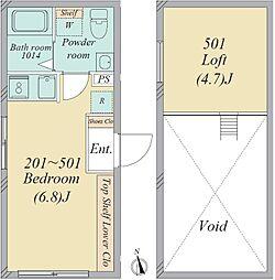 亀有2丁目・新築RCマンション 5階ワンルームの間取り