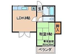 京都府京都市伏見区三栖向町の賃貸マンションの間取り