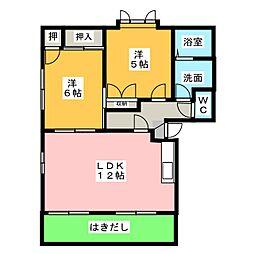 コーポナカノ A[1階]の間取り