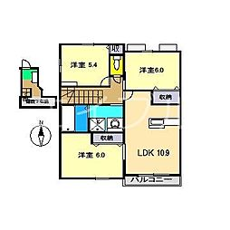 Sun House 朝倉[2階]の間取り