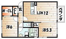 福岡県遠賀郡水巻町杁2丁目の賃貸アパートの間取り