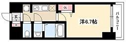 エステムコート名古屋グロース 13階1Kの間取り