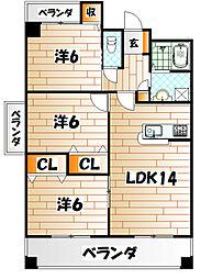 S・E天籟寺マンション[4階]の間取り