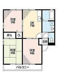 リーフガーデン宇多津B(アパート) 1階3DKの間取り