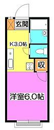 東京都東久留米市氷川台2の賃貸アパートの間取り