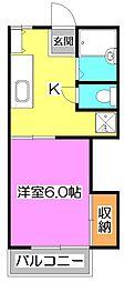 東京都練馬区東大泉1丁目の賃貸アパートの間取り