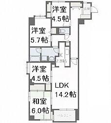 北海道札幌市中央区南十七条西17丁目の賃貸マンションの間取り