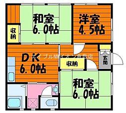 岡山県倉敷市松島の賃貸アパートの間取り