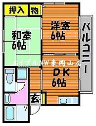ディアスKAWAI 2階2DKの間取り