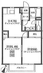 東京都大田区下丸子1丁目の賃貸アパートの間取り
