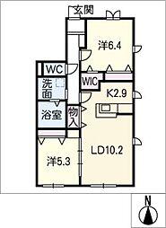 ベルデュール[1階]の間取り