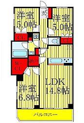 クレサージュ松戸六高台[410号室]の間取り