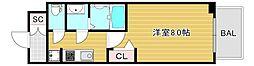 プレサンス心斎橋ソレイユ 9階1Kの間取り
