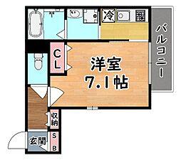 阪急神戸本線 王子公園駅 徒歩1分の賃貸マンション 2階1Kの間取り