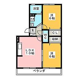 リヴェ-ル後田 A棟[3階]の間取り